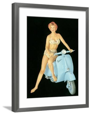 Pin-Up Girl: Italian Vespa Piaggio--Framed Art Print