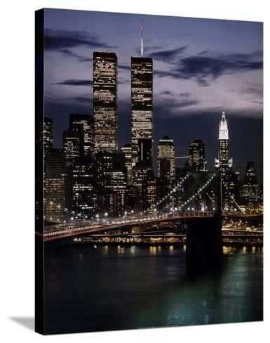 World Trade Center with Brooklyn Bridge--Stretched Canvas Print