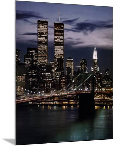 World Trade Center with Brooklyn Bridge--Mounted Art Print