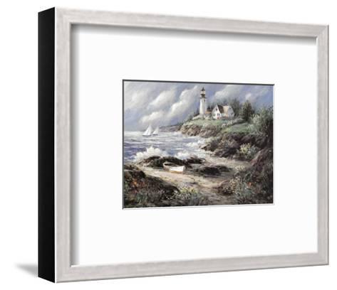 Lighthouse and Boat-George Bjorkland-Framed Art Print