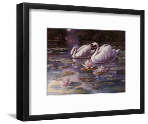 Swans and Bridge-T^ C^ Chiu-Framed Art Print