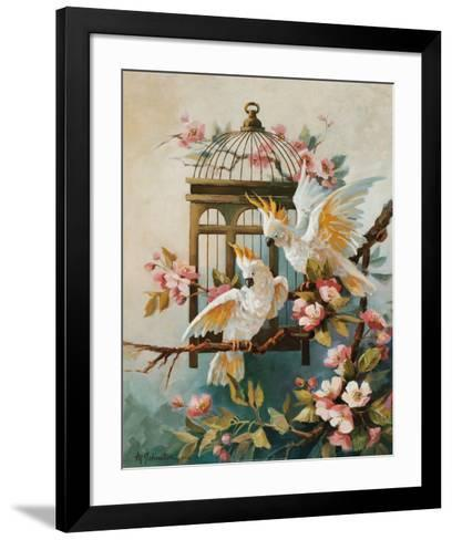Cockatoo and Blossoms-Maxine Johnston-Framed Art Print