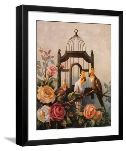 Cockatiel and Roses-Maxine Johnston-Framed Art Print