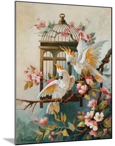 Cockatoo and Blossoms-Maxine Johnston-Mounted Art Print