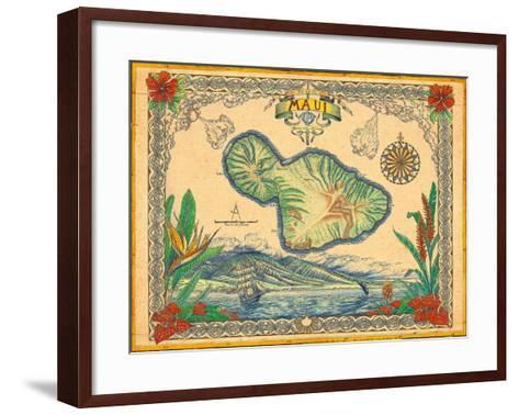 Vintage Style Map of the Island of Maui, Hawaii-Steve Strickland-Framed Art Print