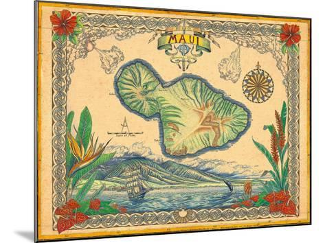 Vintage Style Map of the Island of Maui, Hawaii-Steve Strickland-Mounted Giclee Print