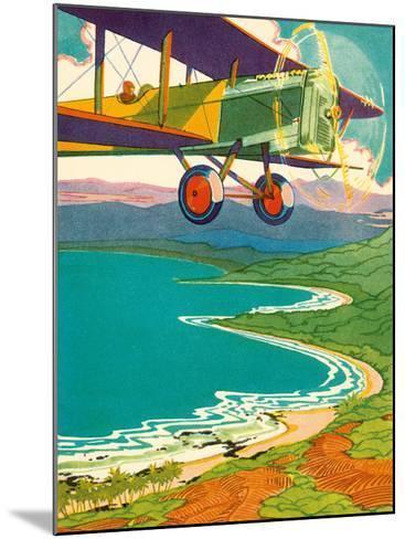 Bi-Plane Over The Hawaii Coastline, c.1928-Lucille Webster Holling-Mounted Giclee Print
