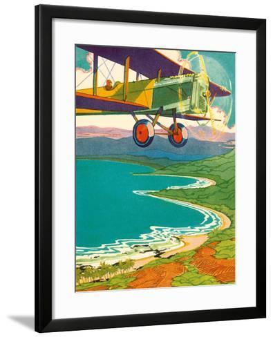 Bi-Plane Over The Hawaii Coastline, c.1928-Lucille Webster Holling-Framed Art Print