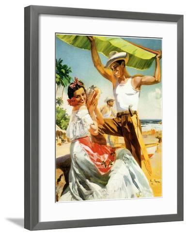 Se?orita on Beach with Banana Leaf--Framed Art Print