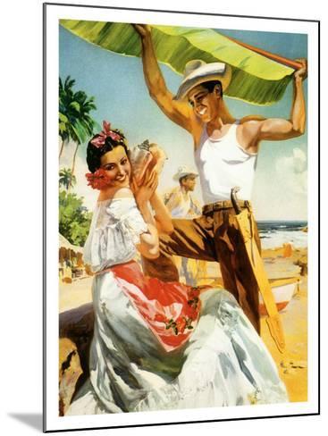 Se?orita on Beach with Banana Leaf--Mounted Giclee Print