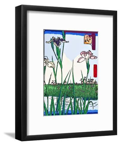 Irises a Pond-Ando Hiroshige-Framed Art Print