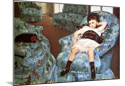 Little Girl Sitting in Blue Arm Chair-Mary Cassatt-Mounted Giclee Print