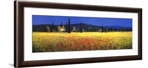 Tuscan Panorama, Poppies-David Short-Framed Art Print