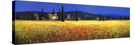 Tuscan Panorama, Poppies-David Short-Stretched Canvas Print