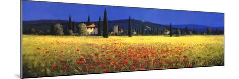 Tuscan Panorama, Poppies-David Short-Mounted Art Print