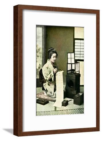 Japanese Geisha Writing Letter--Framed Art Print