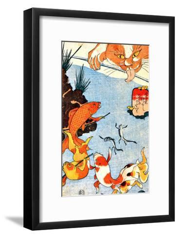Goldfish and Cat--Framed Art Print