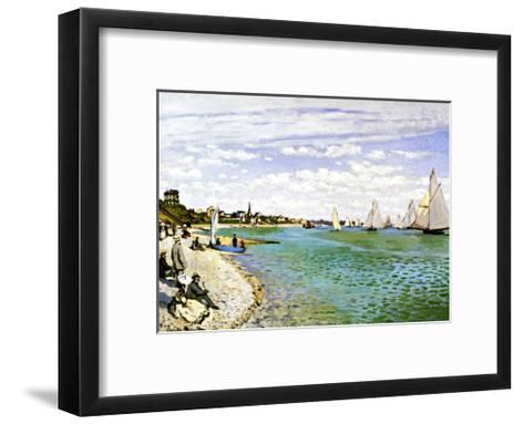 The Beach at Sainte Adresse-Claude Monet-Framed Art Print