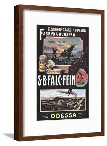 Vintage Russian Fish Cannery Advertisement--Framed Art Print