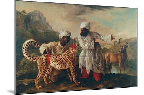 Cheetah and Stag with Two Indians-George Stubbs-Mounted Art Print