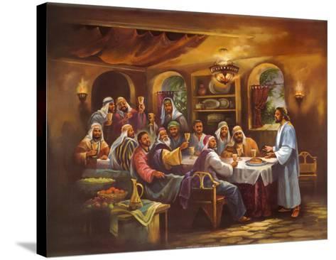 Black Last Supper-Bev Lopez-Stretched Canvas Print