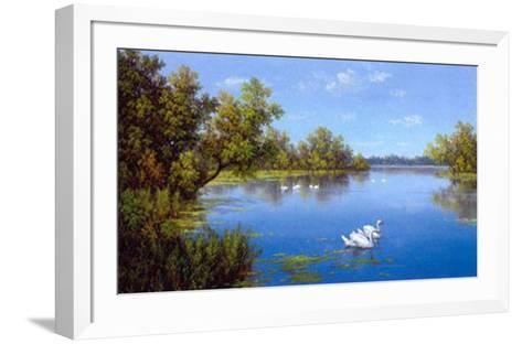 River with Swans II-Slava-Framed Art Print