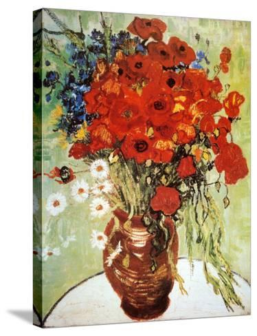 Vase with Daisies and Poppies-Vincent van Gogh-Stretched Canvas Print