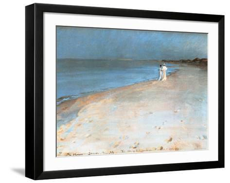 Summer Evening at the South Beach, Skagen, c.1893-Peder Severin Kr?yer-Framed Art Print