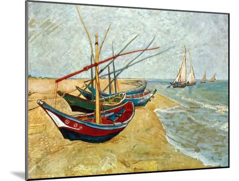 Fishing Boats on the Beach at Saints-Maries, c.1888-Vincent van Gogh-Mounted Art Print