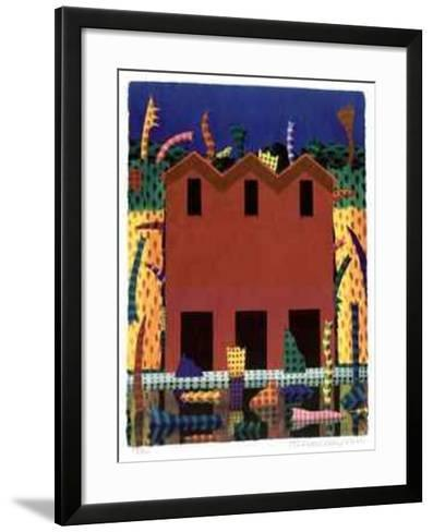 Red Barn with Livistonia`s Reflections-Ian Tremewen-Framed Art Print