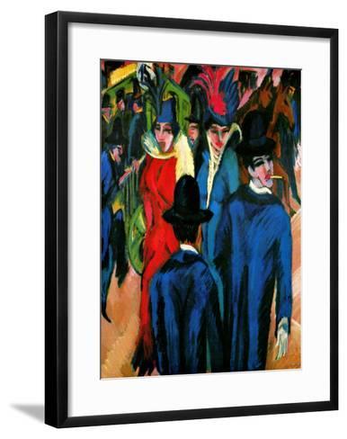 Street Scene in Berlin-Ernst Ludwig Kirchner-Framed Art Print