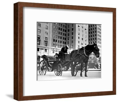 Carriage in Central Park, New York--Framed Art Print