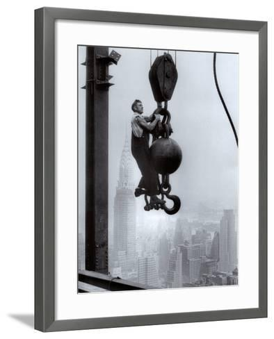 Construction Worker on the Empire State Building--Framed Art Print