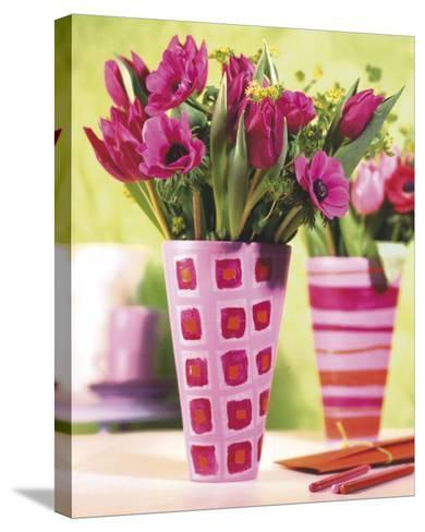 Decorated Vases--Stretched Canvas Print