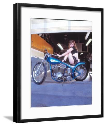 Pin-Up Girl: Blue Chopper-David Perry-Framed Art Print