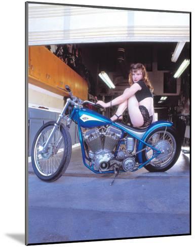 Pin-Up Girl: Blue Chopper-David Perry-Mounted Giclee Print