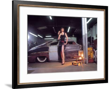 Pin-Up Girl: 1951 Chopped Mercury-David Perry-Framed Art Print