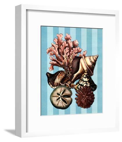 Shell and Coral on Aqua I--Framed Art Print