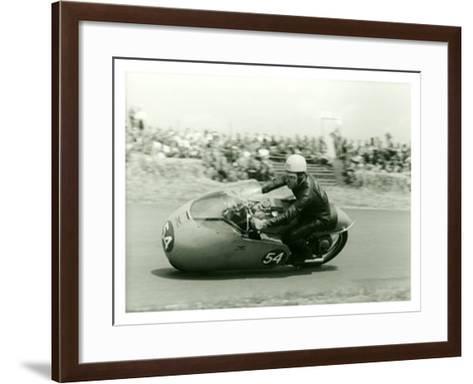 Moto Guzzi Dustbin GP Motorcycle Race-Giovanni Perrone-Framed Art Print