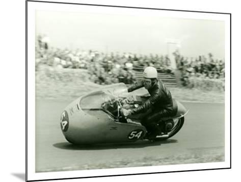 Moto Guzzi Dustbin GP Motorcycle Race-Giovanni Perrone-Mounted Giclee Print