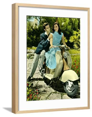 Vespa Piaggio Romance--Framed Art Print