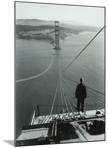 San Francisco, Golden Gate Bridge Construction--Mounted Giclee Print