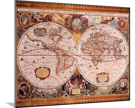 Antique Map, Geographica, c.1630-Henricus Hondius-Mounted Art Print