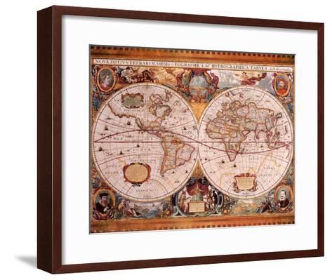 Antique Map, Geographica, c.1630-Henricus Hondius-Framed Art Print