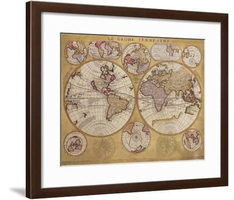 Antique Map, Globe Terrestre, 1690-Vincenzo Coronelli-Framed Art Print