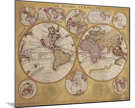 Antique Map, Globe Terrestre, 1690-Vincenzo Coronelli-Mounted Art Print