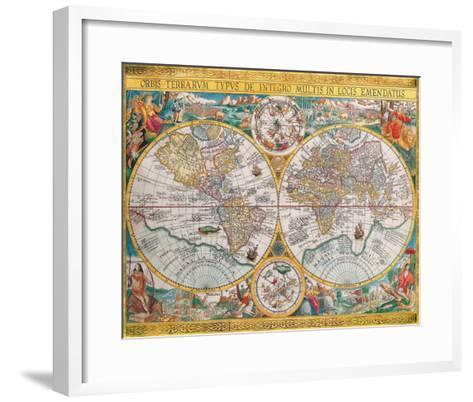 Antique Map, Orbis Terrarum, 1636-Jean Boisseau-Framed Art Print