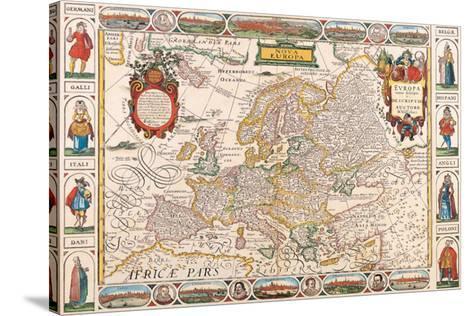 Antique Map, Nova Europa, 1652-Nicholas Visscher-Stretched Canvas Print