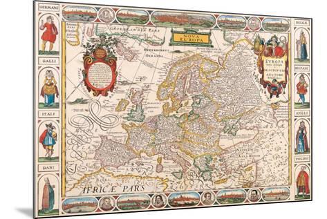 Antique Map, Nova Europa, 1652-Nicholas Visscher-Mounted Art Print