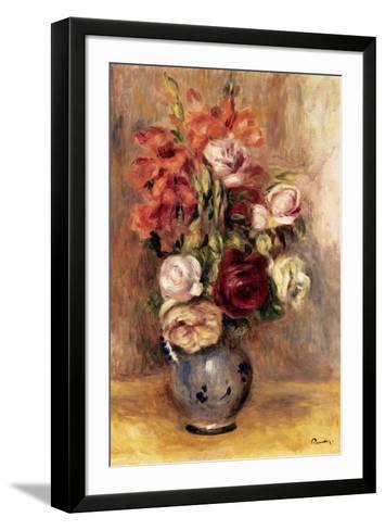 Vase of Gladiolas and Roses-Pierre-Auguste Renoir-Framed Art Print